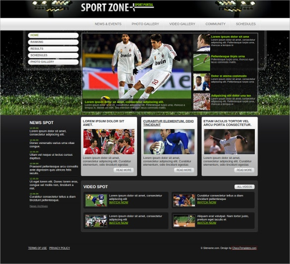 sports zone free css template