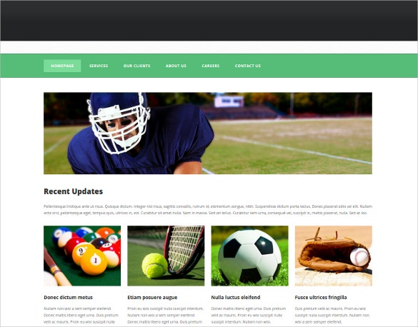 sports categary website template