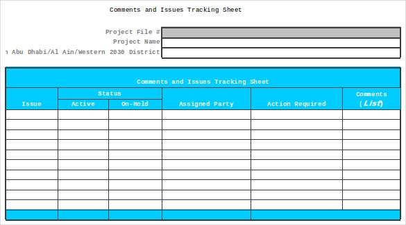 comments and issues tracking sheet excel format download