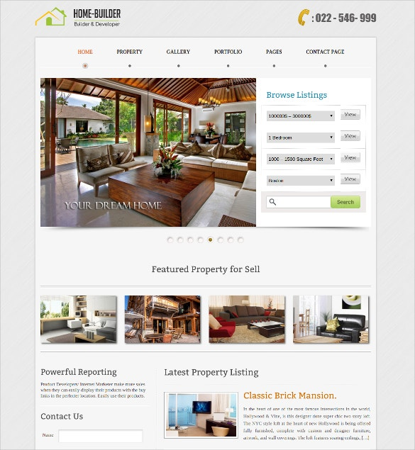 realtors home building website template