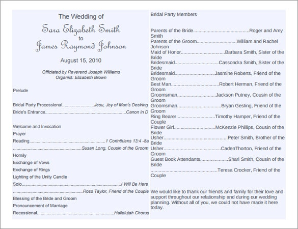 Word Wedding Program Templates Free Download  Free  Premium
