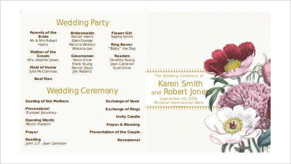 Modern Double Sided Ceremony Wedding Programs Word Doent