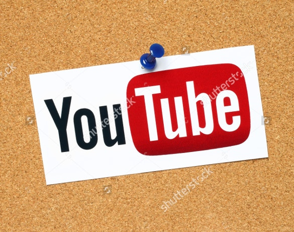 youtube logo printed with wodden background