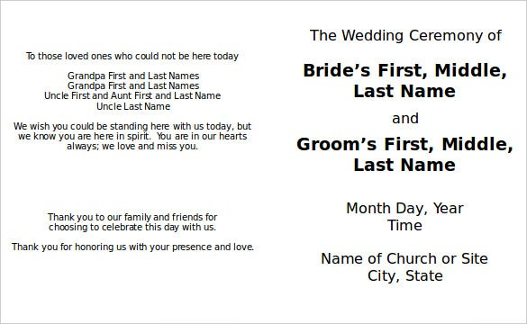 great officiants free wedding program