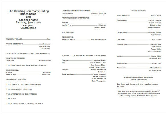 tri fold wedding program template word doc