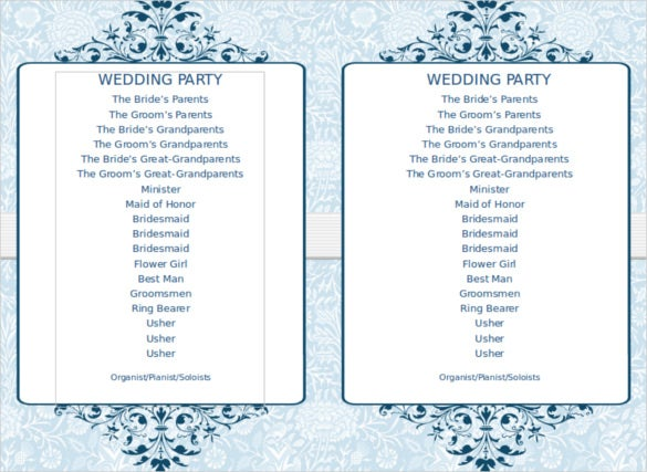 8 word wedding program templates free download free for Free wedding program templates