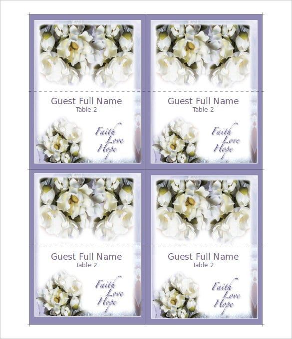 faith love hope place cards wedding program
