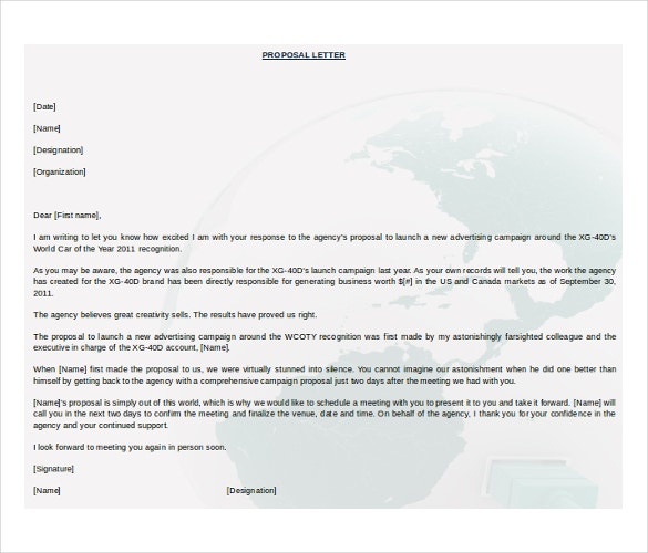 Formal Business Proposal Letter Microsoft Word