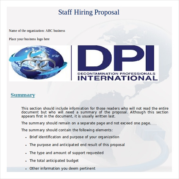 Word Format Staff Hiring Proposal Template Free Download  Microsoft Word Business Proposal Template