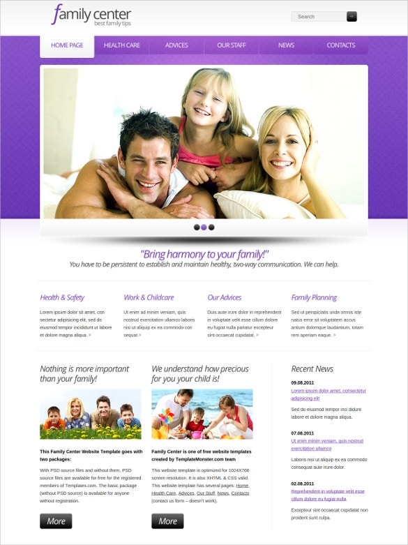 family center free css website template