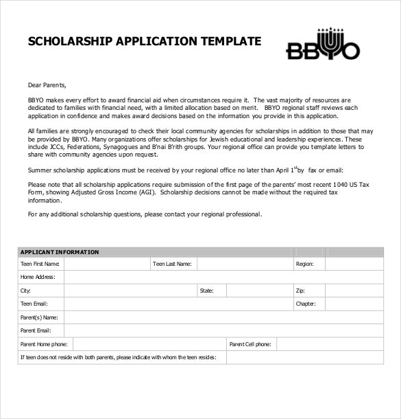 scholarship application form pdf free download