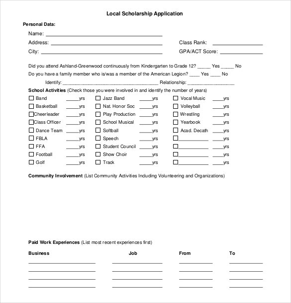 Local Scholarship Application Form Free Download