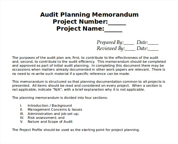 sample audit planning memo template free download