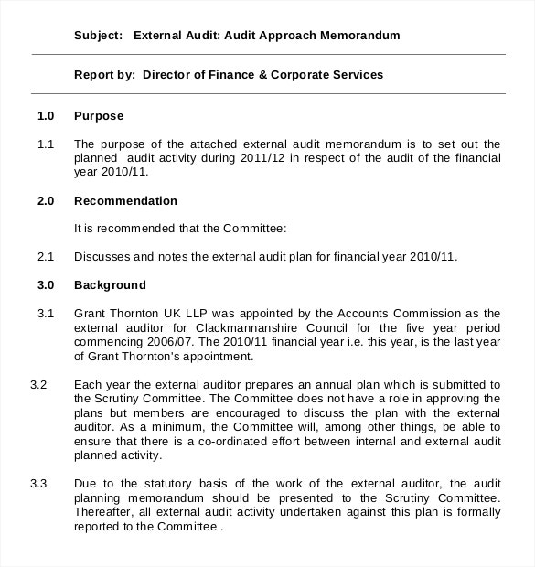 approach of audit planning memorandum example template format
