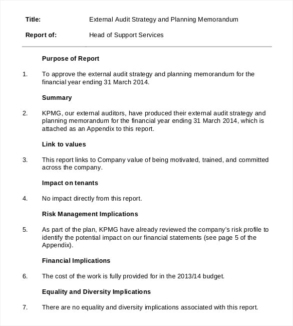 Superior External Audit Strategy And Planning Memorandum Free Format Download For External Audit Report Template
