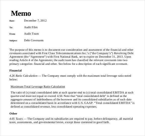 Memo Sample Internal Business Memo Template Free Example Format