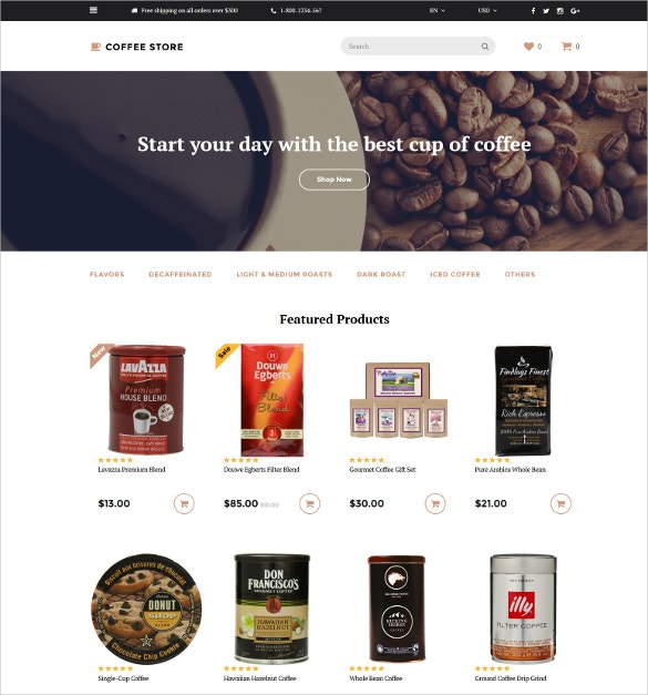 coffee store opencart template 62