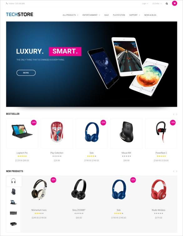 tech store opencart theme to download
