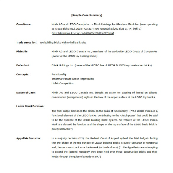 case summary template free word download