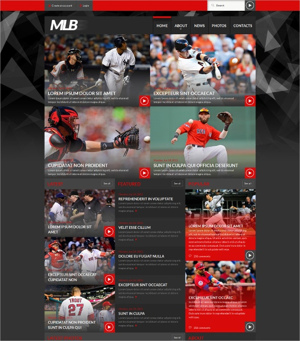 baseball news portal website template
