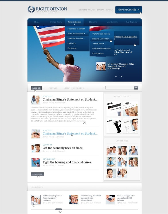 political news website template