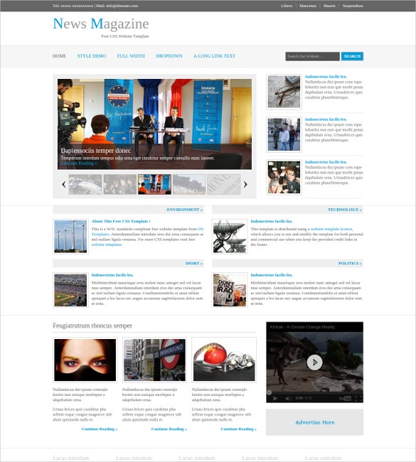 news magazine website template