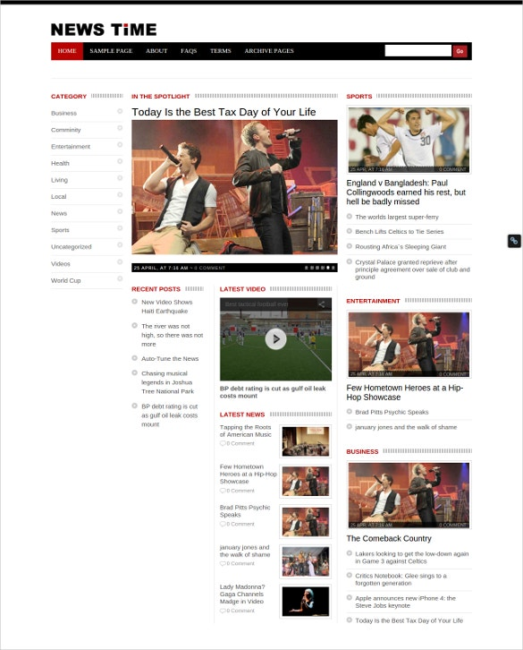 news time website template