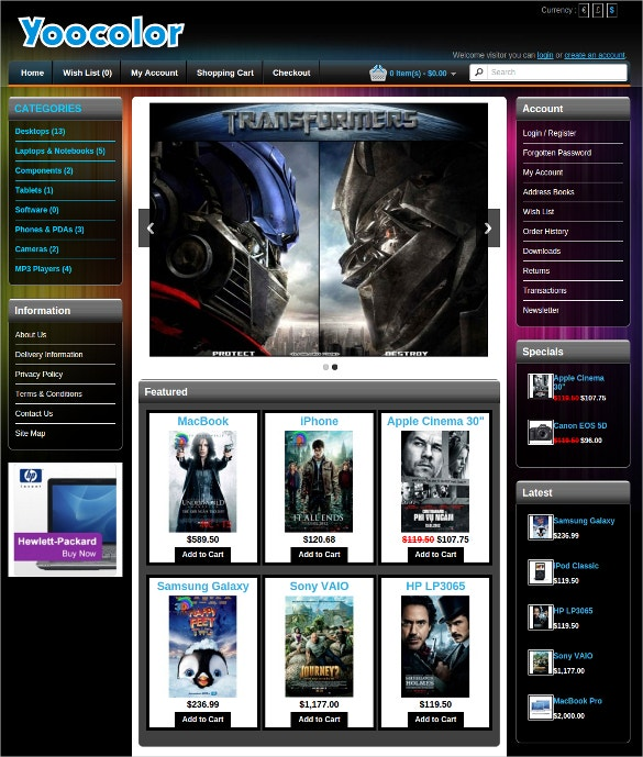 free transformers responsive opencart theme