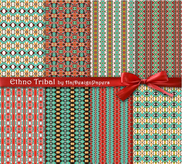 tribal patterns in green red and brown download