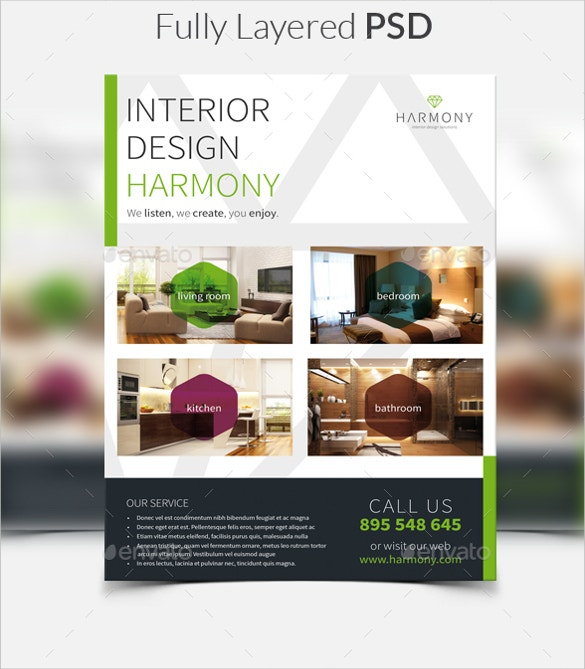 Go For This Modern Interior Design Flyer Template Available In ISO A4 Format With 3mm Bleed Organized Layers Two Versions And Print Ready