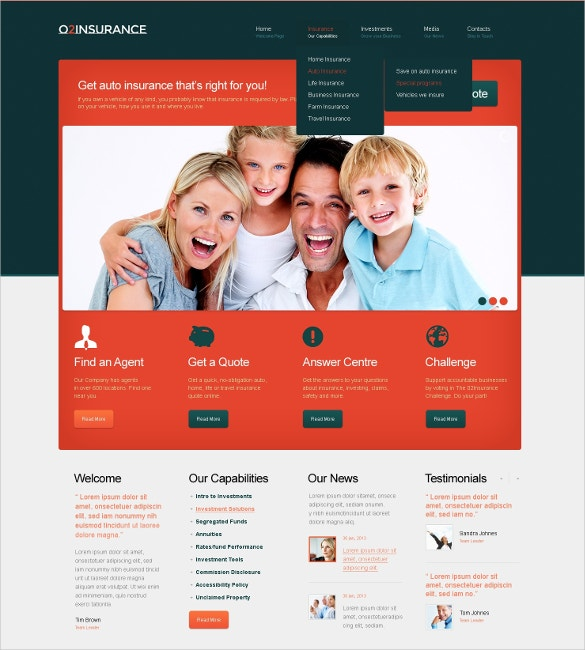 free insurance bootstrap template  26  Insurance Website Themes