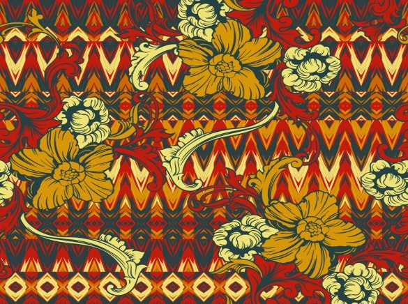 floral ornaments on tribal background free download