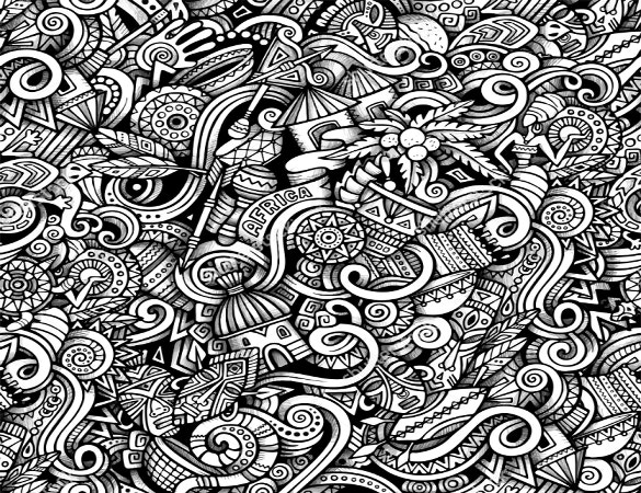 cartoon hand drawn tribal pattern
