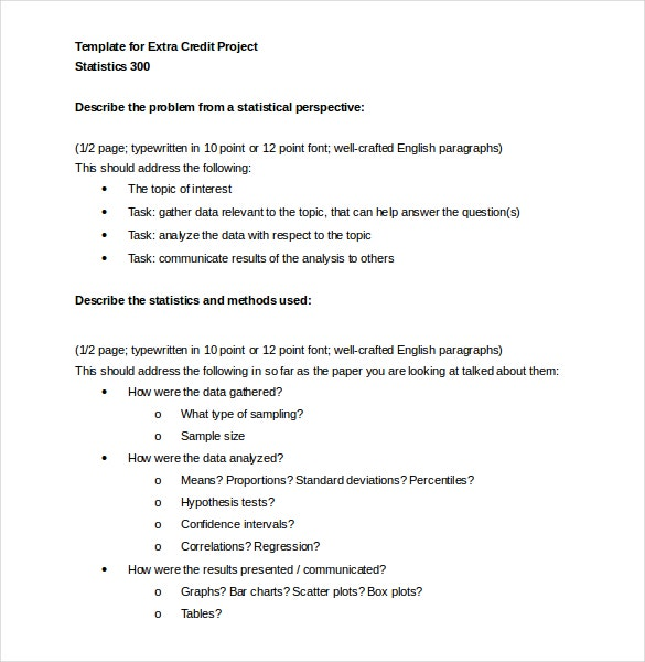 template for extra credit project free word document