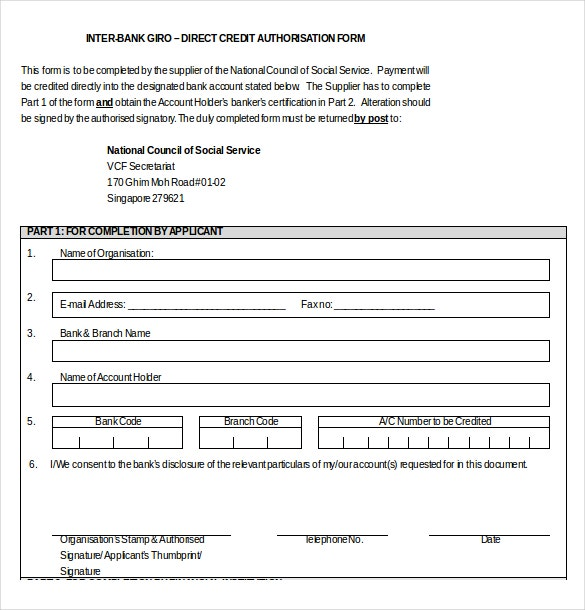 inter bank giro direct credit authorization form word template download