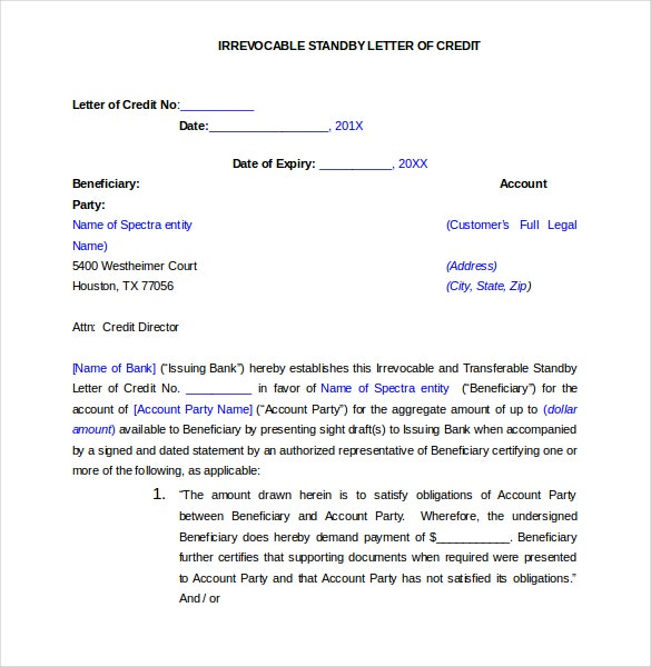 irrevocable standby letter of credit application template free word format download