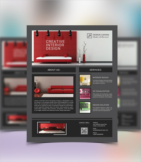 3d visualised interior design flyer template