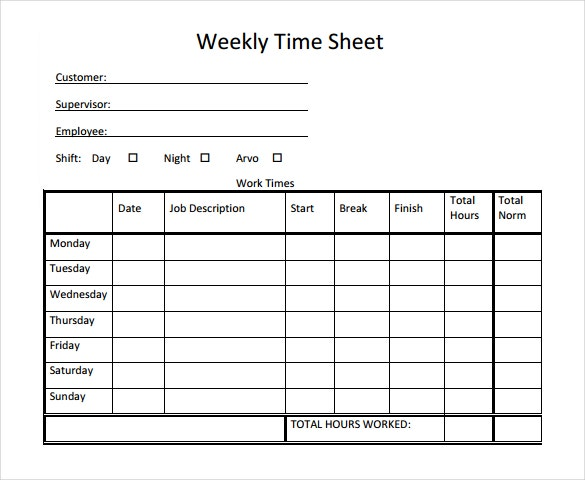21 weekly timesheet templates � free sample example