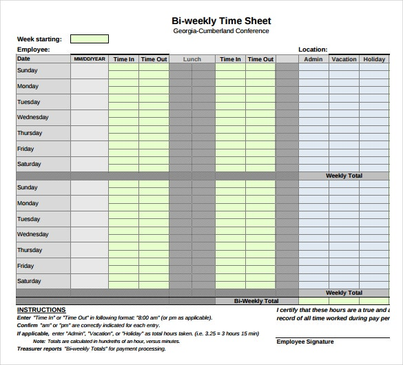28  weekly timesheet templates  u2013 free sample  example