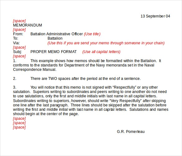 proper memo example format download