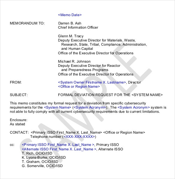formal deviation request memo template format download