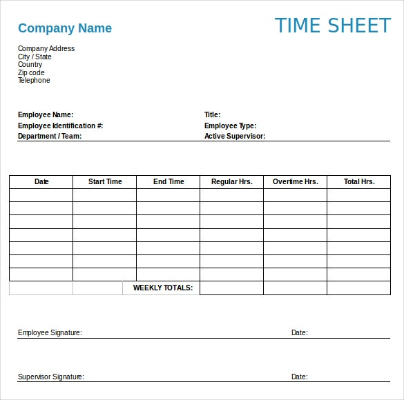 12 Weekly Timesheet Templates Free Sample Example Format – Time Sheet Templates