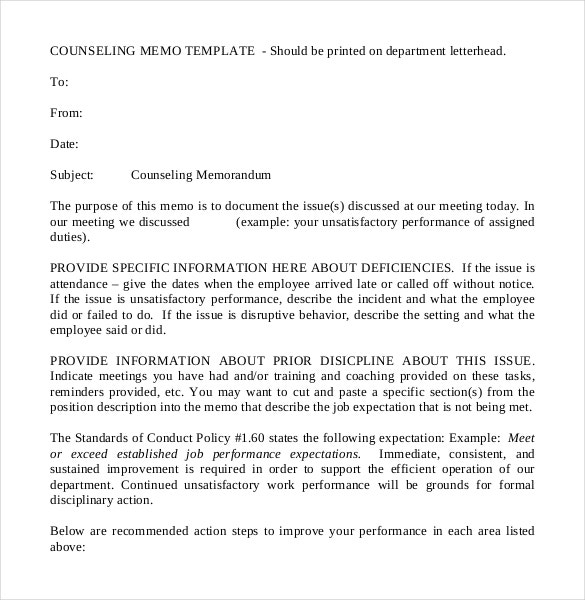 formal counseling memorandum free example template