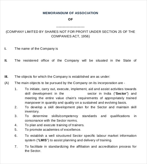 company association formal memorandum example template