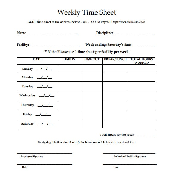 Printable Time Sheet Weekly Timesheet Template Printable 12 – Time Card Template Free