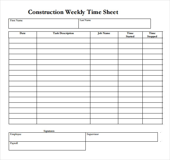 construction weekly time sheet template download