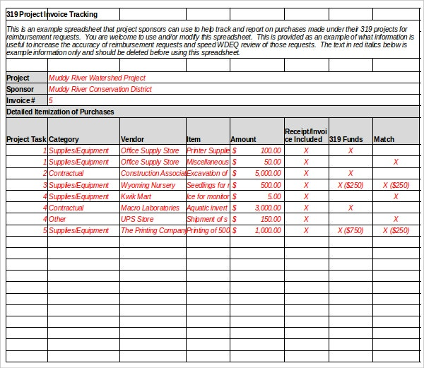 example invoice tracking spreadsheet excel format download