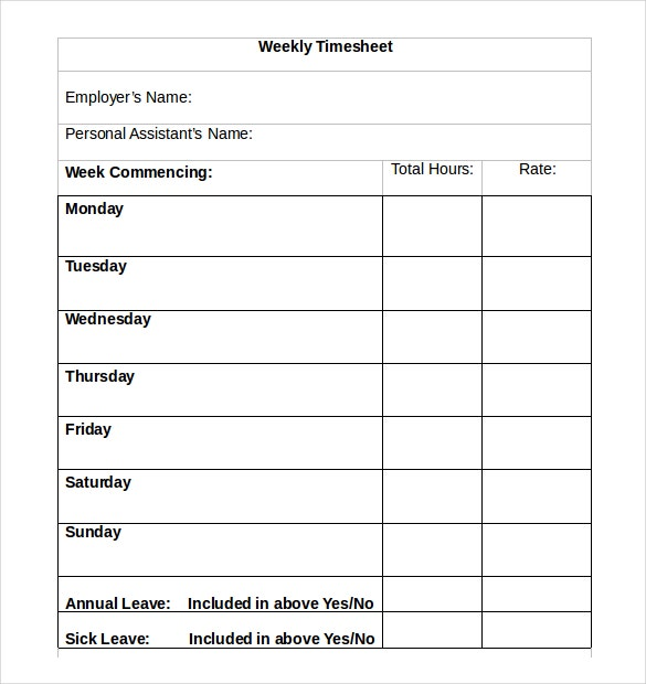 Weekly Timesheet Templates  Free Sample Example Format