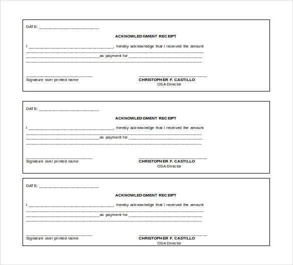 acknowledgment receipt word 2010 format template