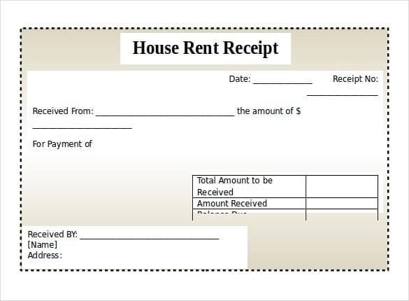 House Rent Receipts Format – Format for Rent Receipt